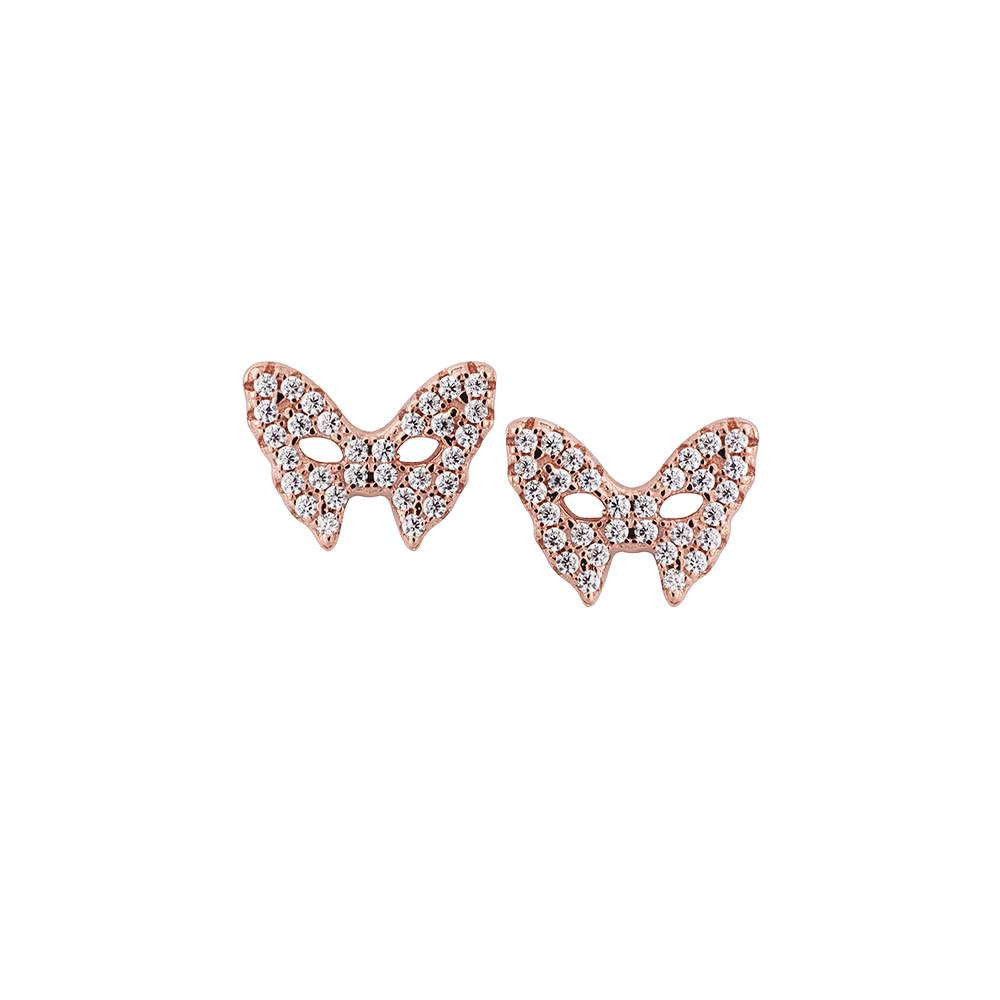 Masquerade CZ Vamp Mask Rose Gold Earrings