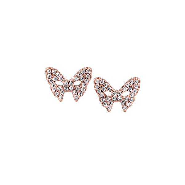 Rose Gold Pave Mask Earrings