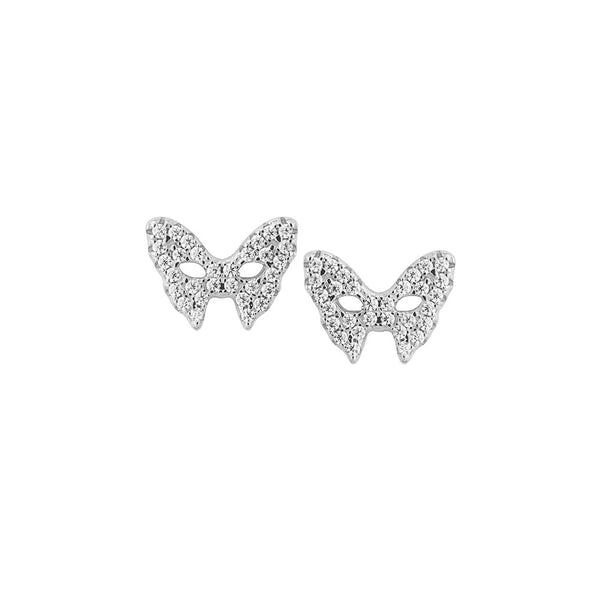 Masquerade CZ Vamp Mask Silver Earrings