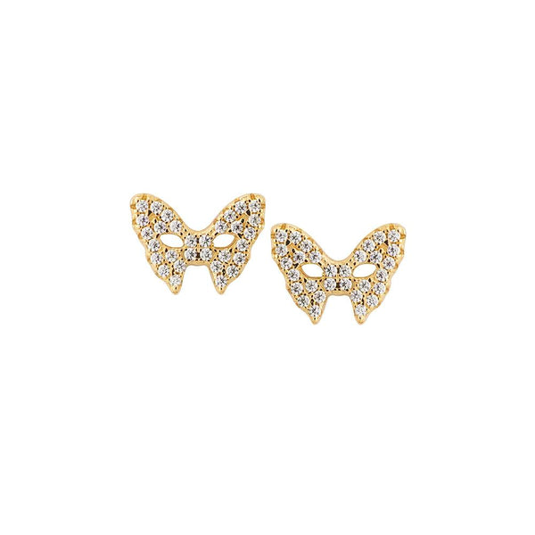 Masquerade CZ Vamp Mask Yellow Gold Earrings