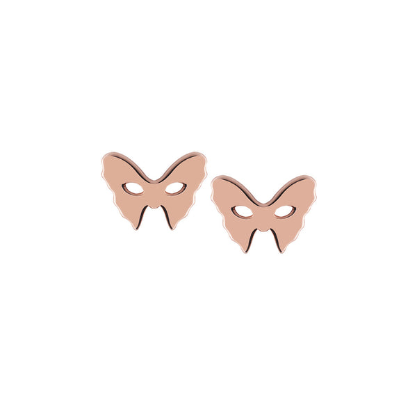 Masquerade Plain Vamp Mask Rose Gold Earrings