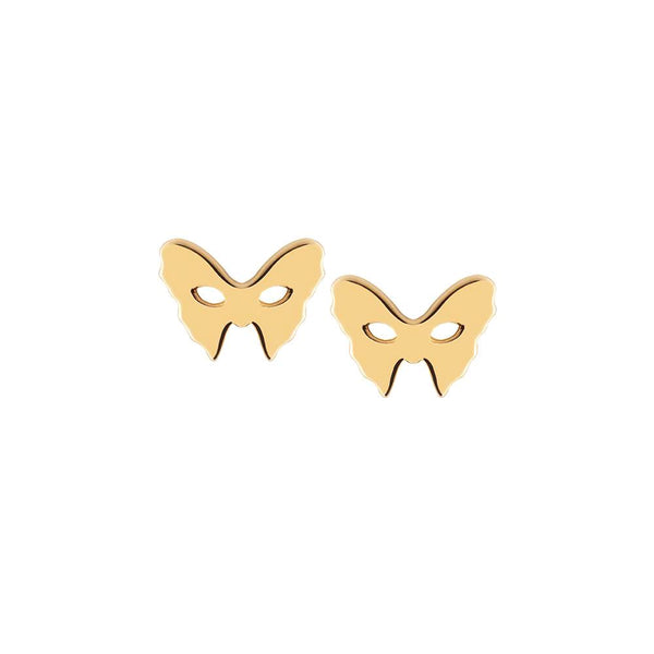 Masquerade Plain Vamp Mask Yellow Gold Earrings