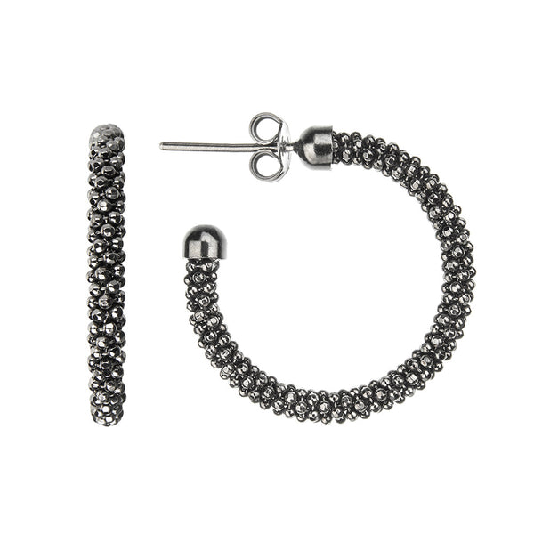Oxidised Mesh Hoops | Vamp London Jewellery