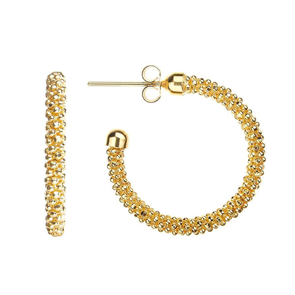 Yellow Gold Mesh Hoops | Vamp London Jewellery