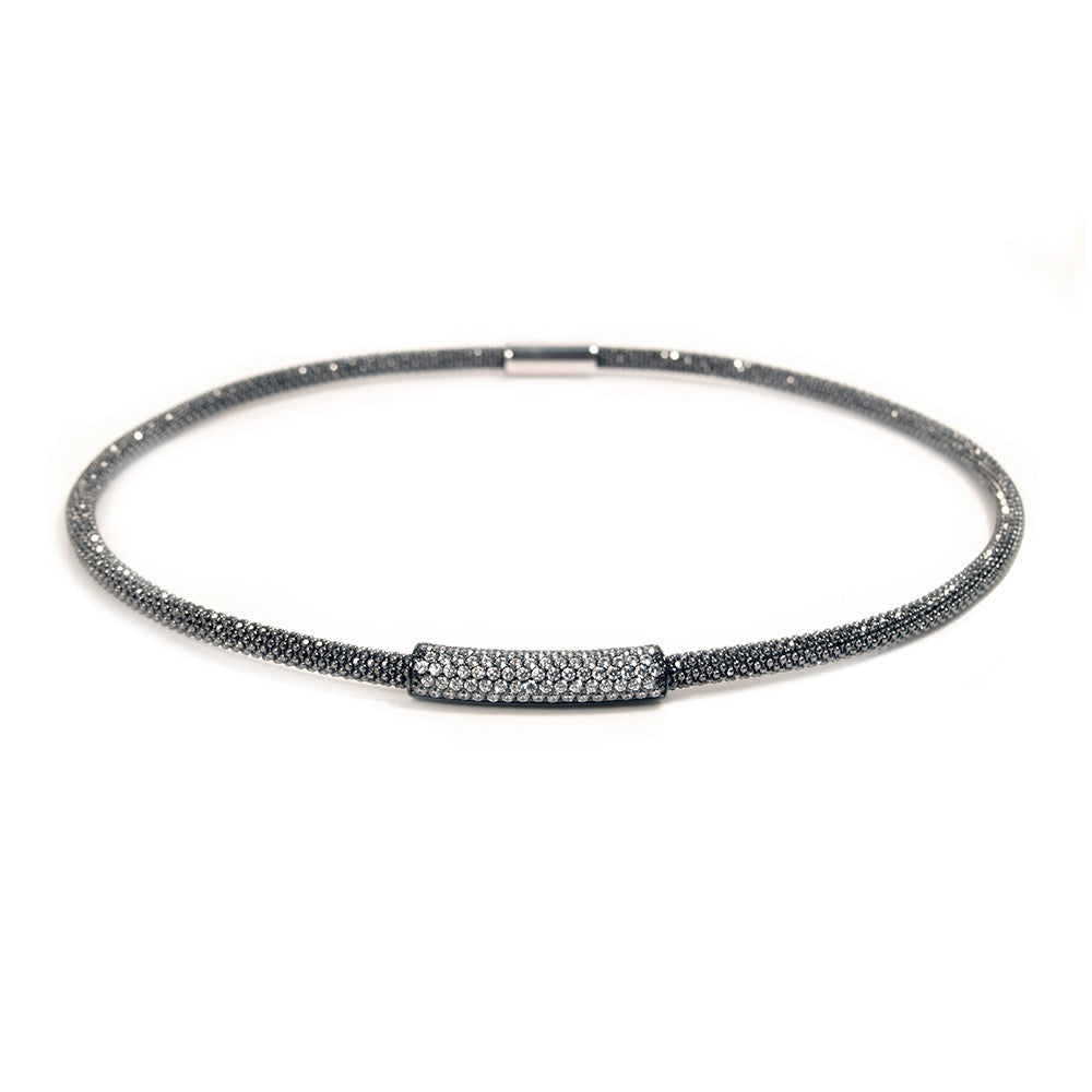 Mesh CZ Bar Oxidised Necklace