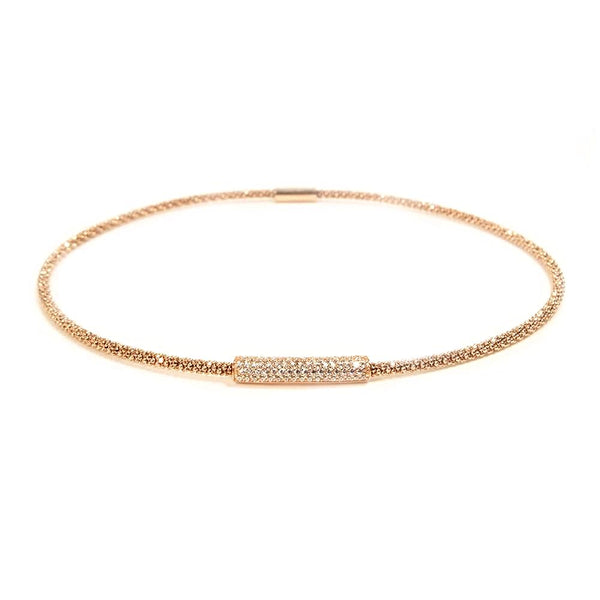 Rose Gold Mesh Necklace CZ | Vamp London Jewellery