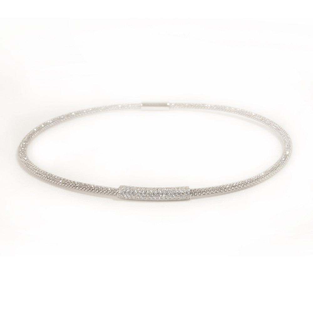 Silver Mesh Necklace CZ | Vamp London Jewellery