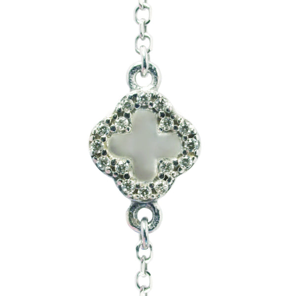 Symbolic Mother Of Pearl Flower CZ Silver Bracelet - Vamp London