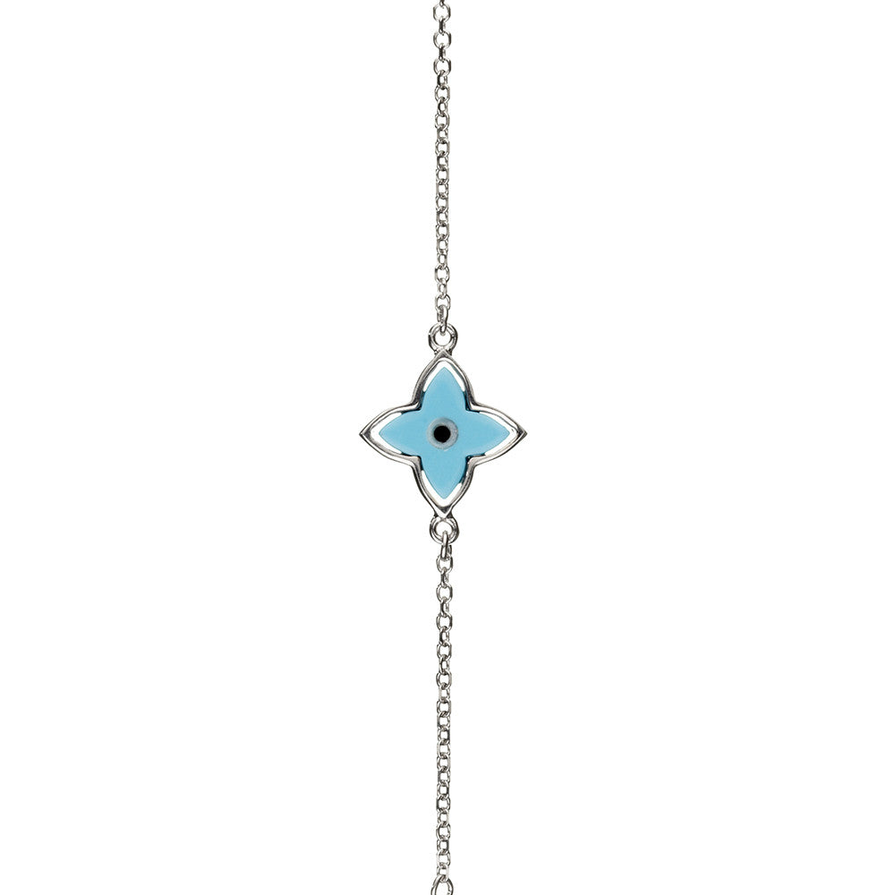 Symbolic Evil Eye Silver Bracelet - Vamp London