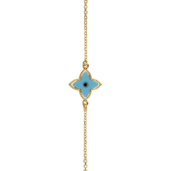 Symbolic Evil Eye Yellow Gold Bracelet - Vamp London