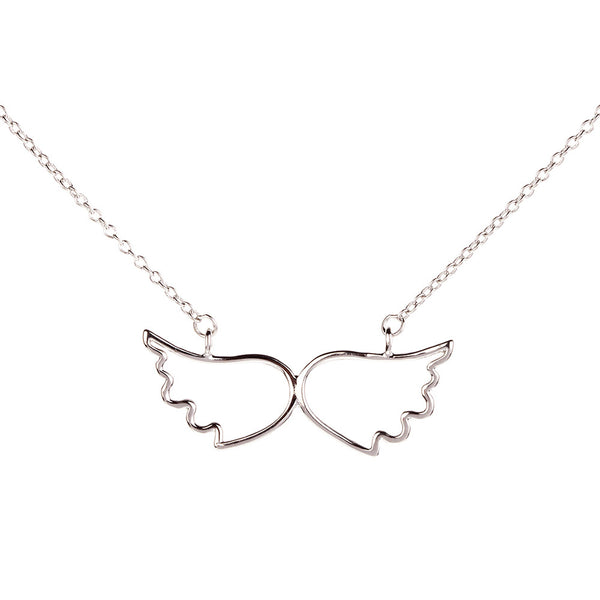 Symbolic Angel Wing Silver Necklace - Vamp London