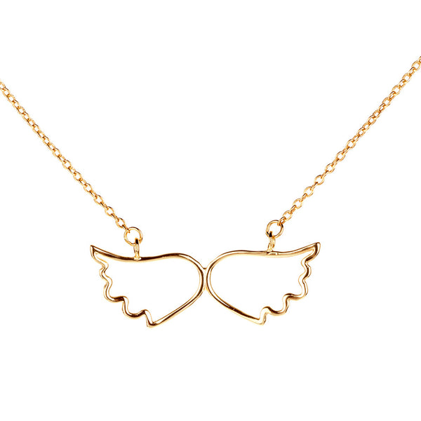 Symbolic Angel Wing Yellow Gold Necklace - Vamp London