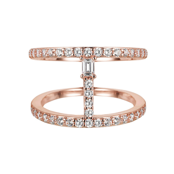 Sahara Bar Ring in Rose Gold - Vamp London