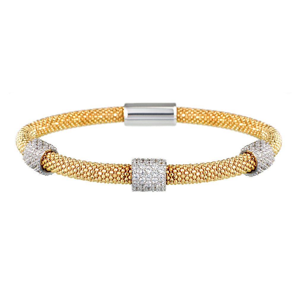 Mesh Dainty 3 CZ Yellow Gold Bracelet - Vamp London