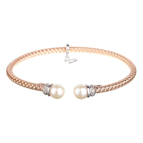 Entwined Pearl Rose Gold Bracelet - Vamp London