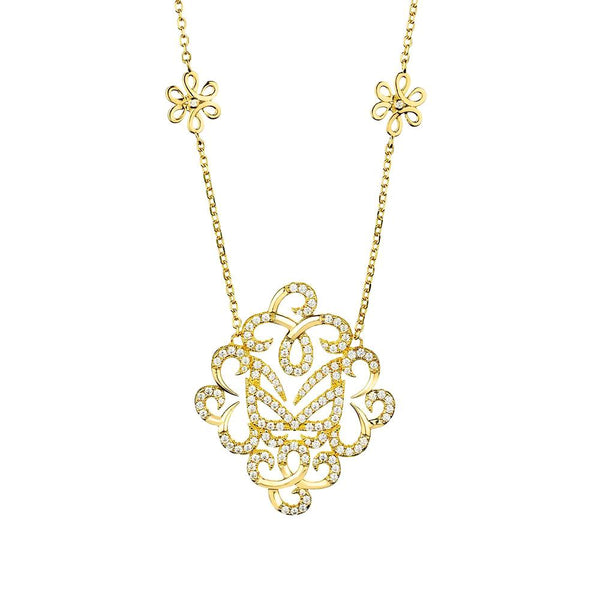 Hidden Mask Fancy Yellow Gold Necklace - Vamp London