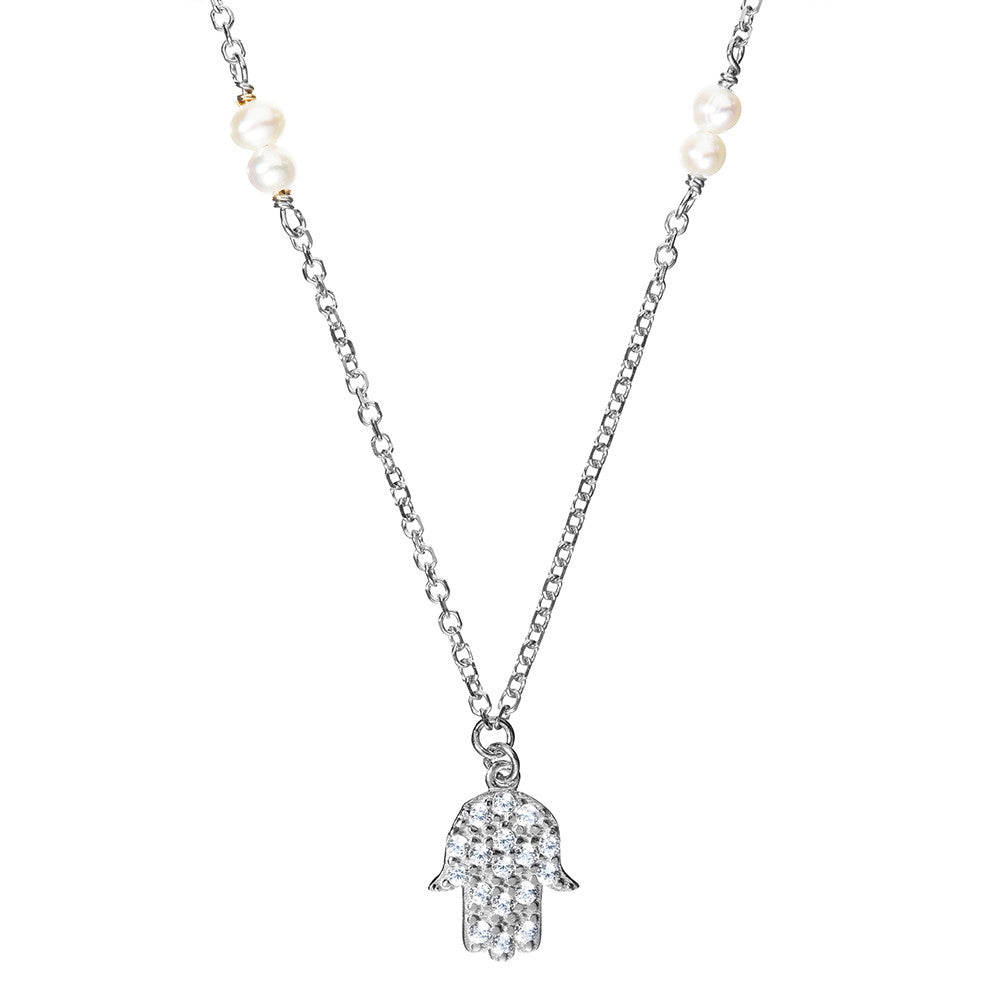 Symbolic Hamsa Hand Silver Necklace - Vamp London