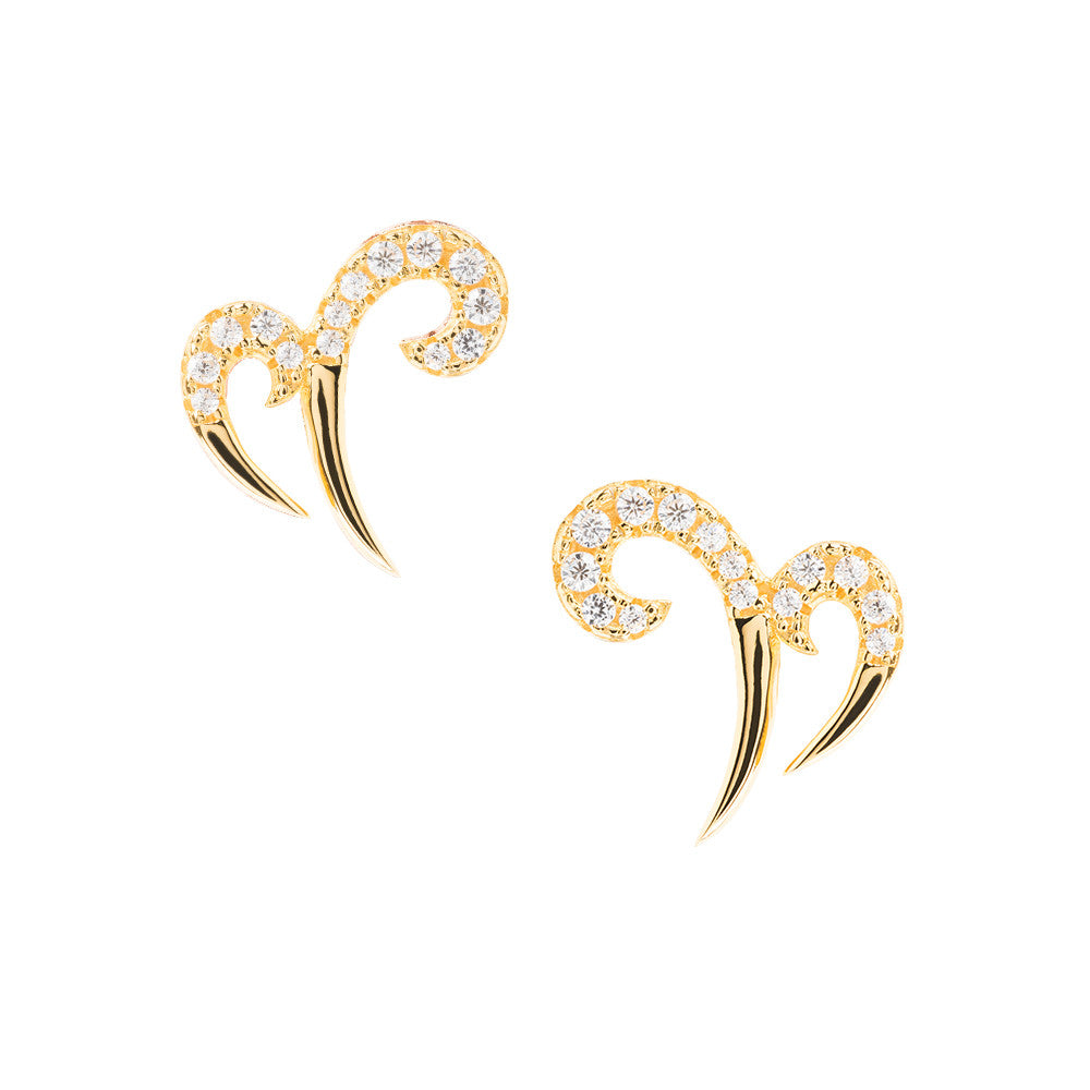 Yellow Gold Double Spike Earrings | Vamp London Jewellery
