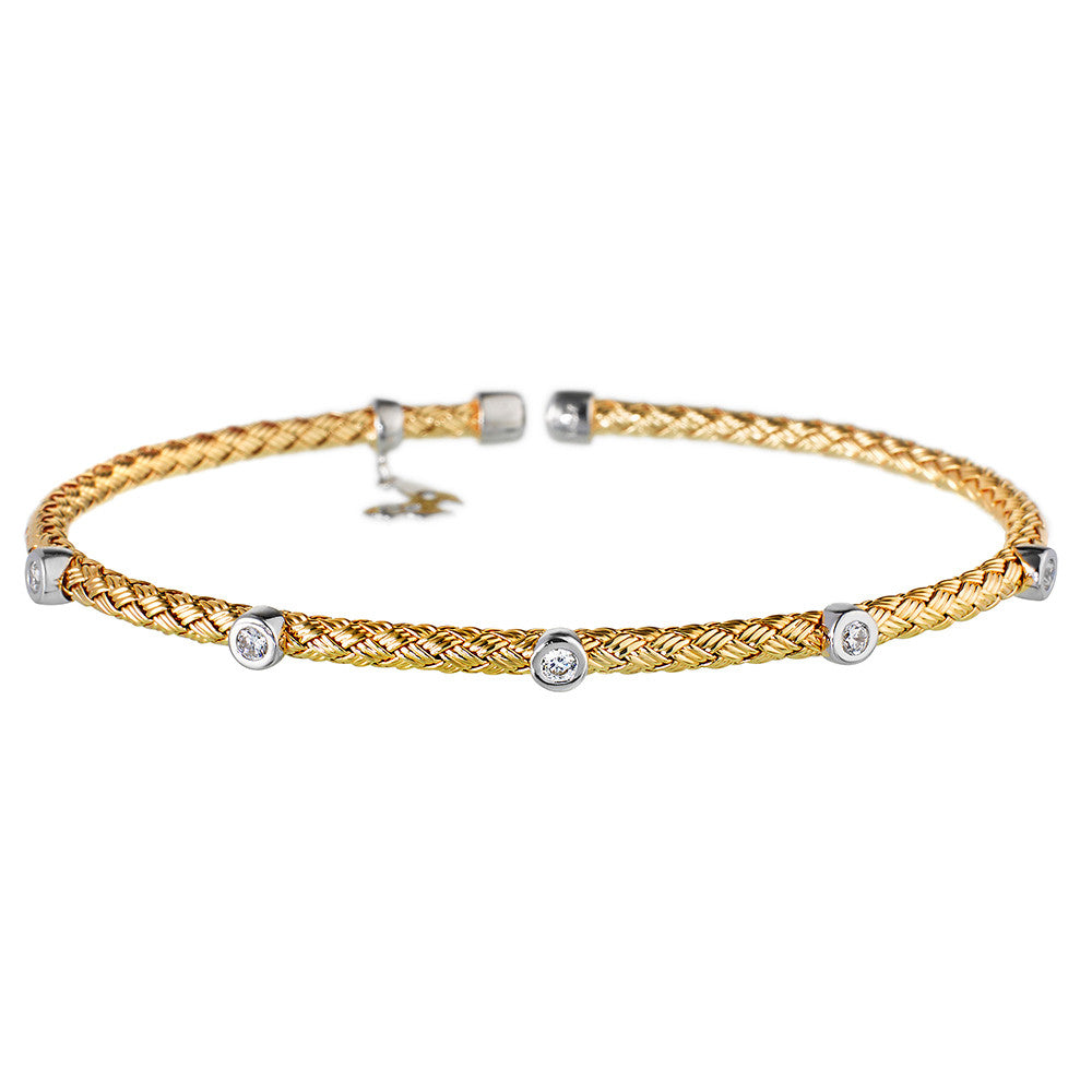 Yellow Gold Bracelet 5 CZ | Vamp London Jewellery