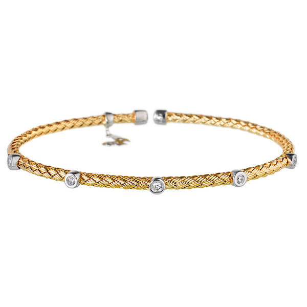 Entwined Dainty 5 CZ Yellow Gold Bracelet - Vamp London
