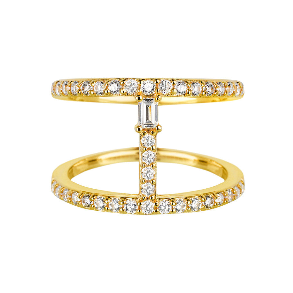 Yellow Gold Bar Ring | Vamp London Jewellery