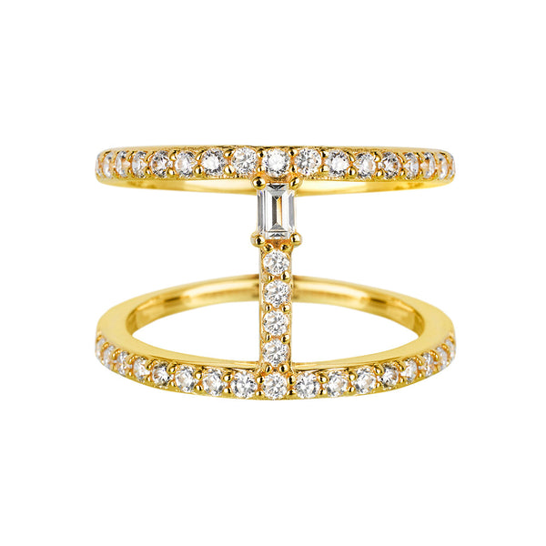 Sahara Bar Ring in Yellow Gold - Vamp London