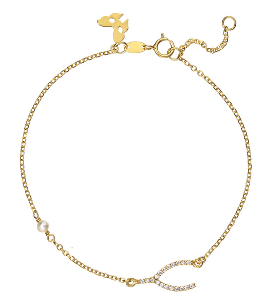 Symbolic Wish Bone Yellow Gold Bracelet - Vamp London