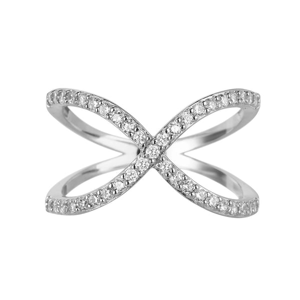 Silver Crossover Ring | Vamp London Jewellery
