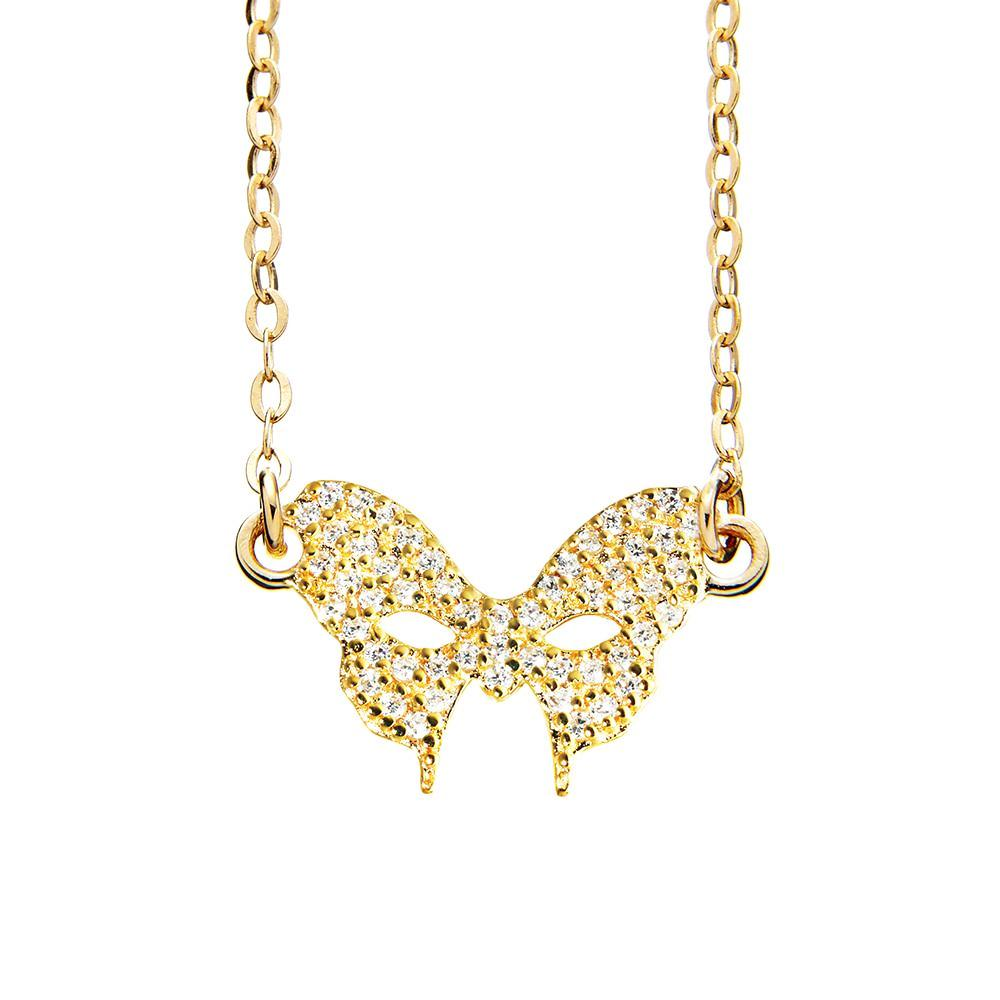 Masquerade CZ Vamp Mask Yellow Gold Necklace - Vamp London