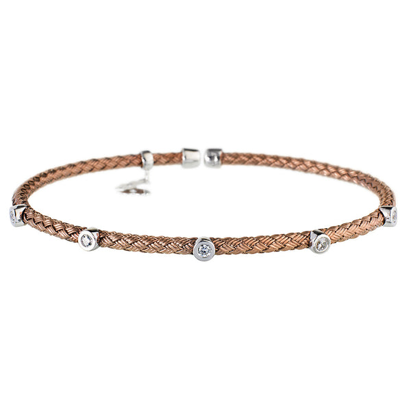 Entwined Dainty 5 CZ Chocolate Gold Bracelet - Vamp London