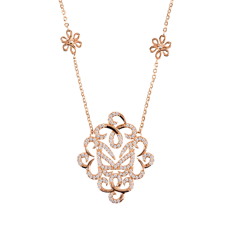 Hidden Mask Fancy Rose Gold Necklace - Vamp London