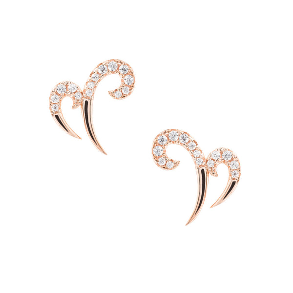 Hidden Mask Double Spike Rose Gold Stud Earrings - Vamp London