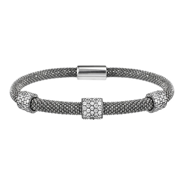 Mesh Dainty 3 CZ Oxidised Bracelet - Vamp London