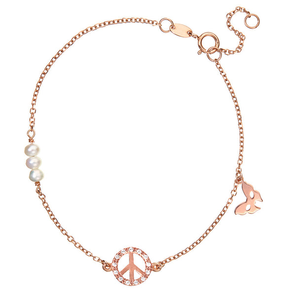 Symbolic Peace Rose Gold Bracelet - Vamp London