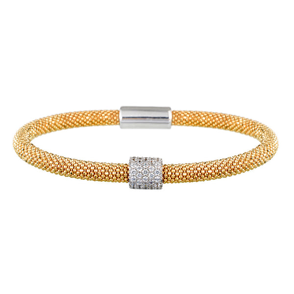 Mesh Dainty 1 CZ Yellow Gold Bracelet - Vamp London
