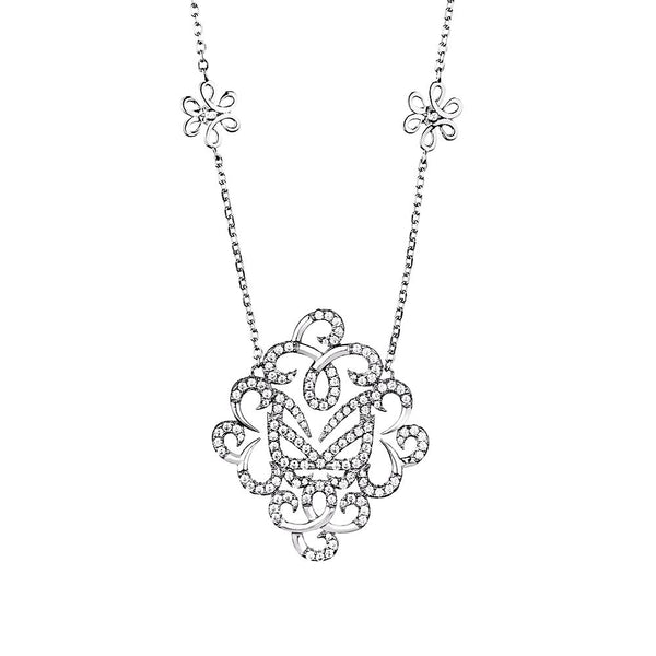Hidden Mask Fancy Silver Necklace - Vamp London