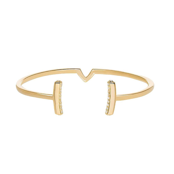 Attitude Yellow Gold Cuff Bangle - Vamp London