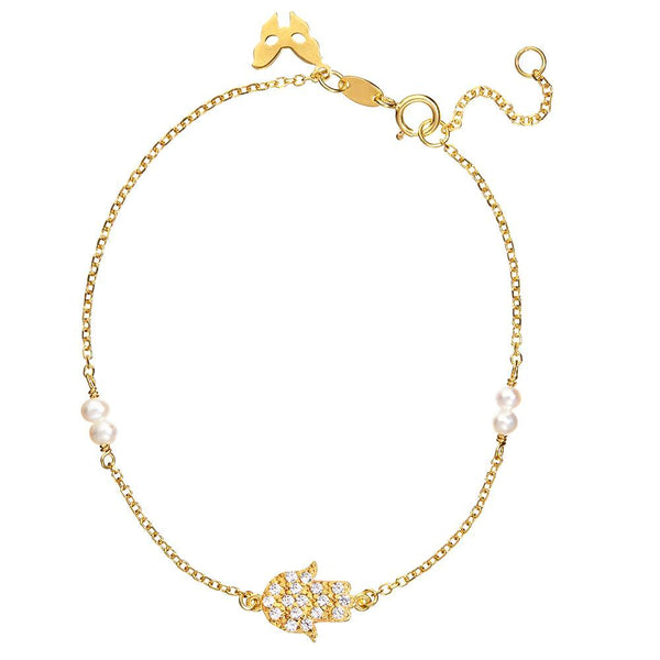 Symbolic Hamsa Hand Yellow Gold Bracelet - Vamp London