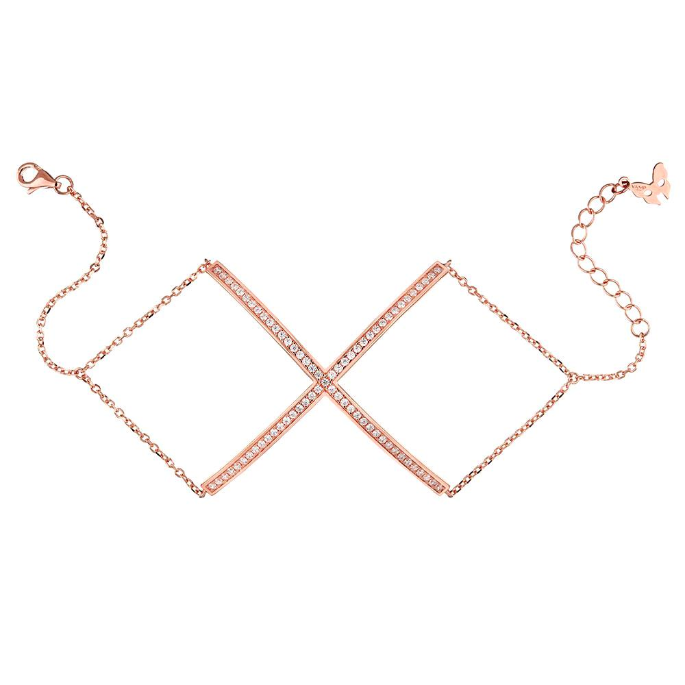 Rose Gold X Bracelet | Vamp London Jewellery