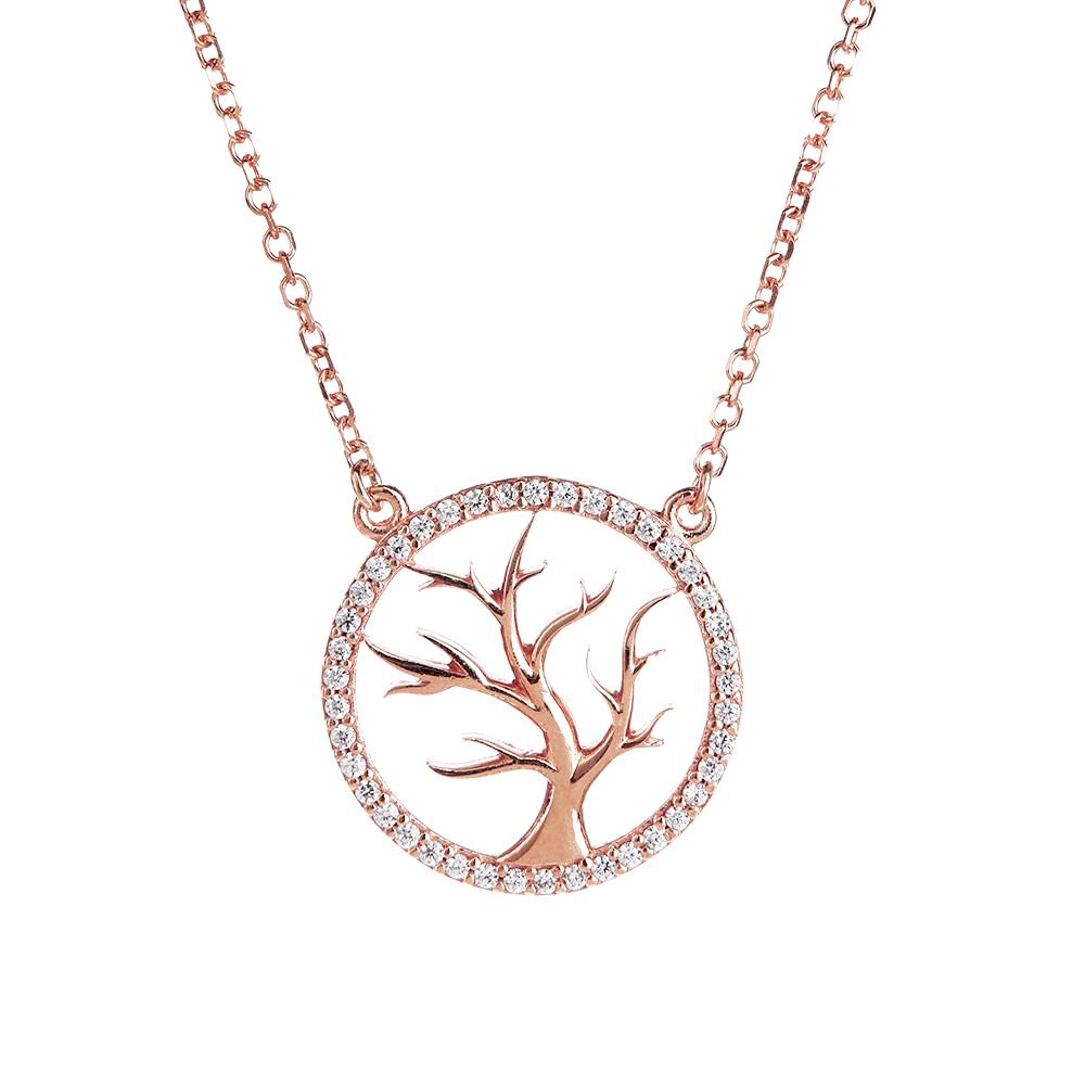 Symbolic Tree of Life Rose Gold Necklace - Vamp London