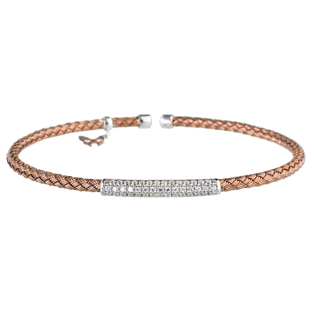 Entwined Dainty CZ Bar Chocolate Gold Bracelet - Vamp London