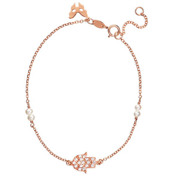Symbolic Hamsa Hand Rose Gold Bracelet - Vamp London
