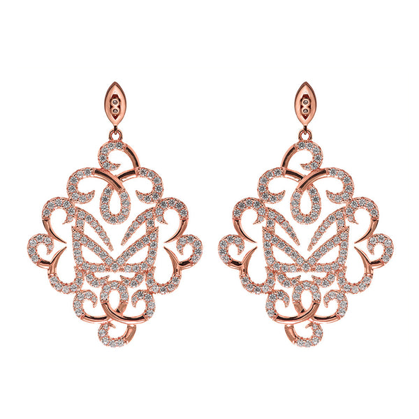 Hidden Mask Fancy Rose Gold Earrings - Vamp London