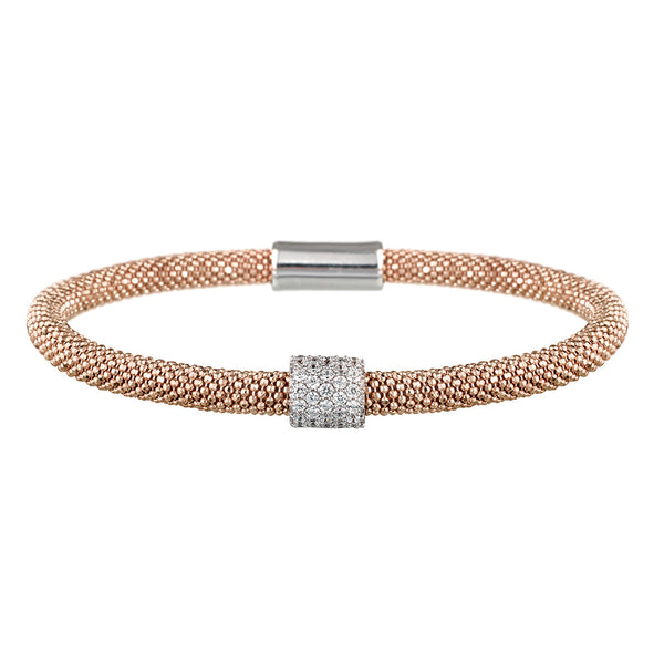 Mesh Dainty 1 CZ Rose Gold Bracelet - Vamp London