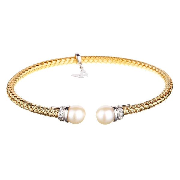Entwined Pearl Yellow Gold Bracelet - Vamp London
