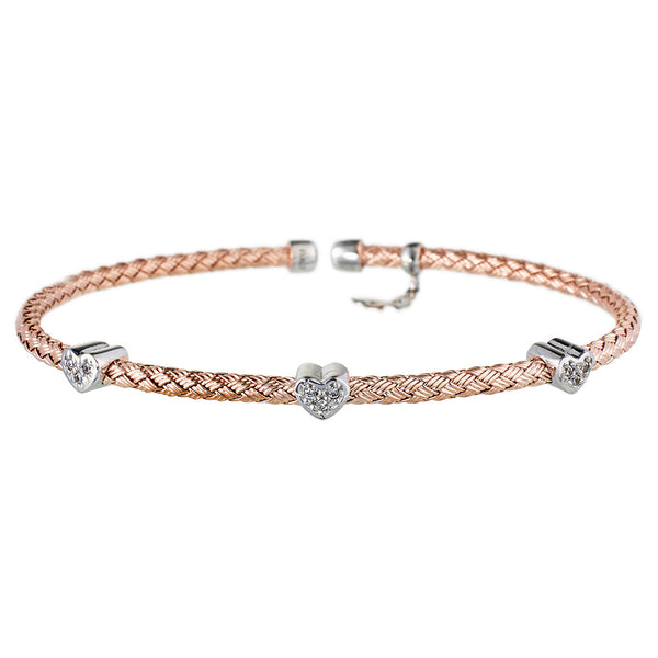 Entwined Dainty CZ Hearts Rose Gold Bracelet - Vamp London