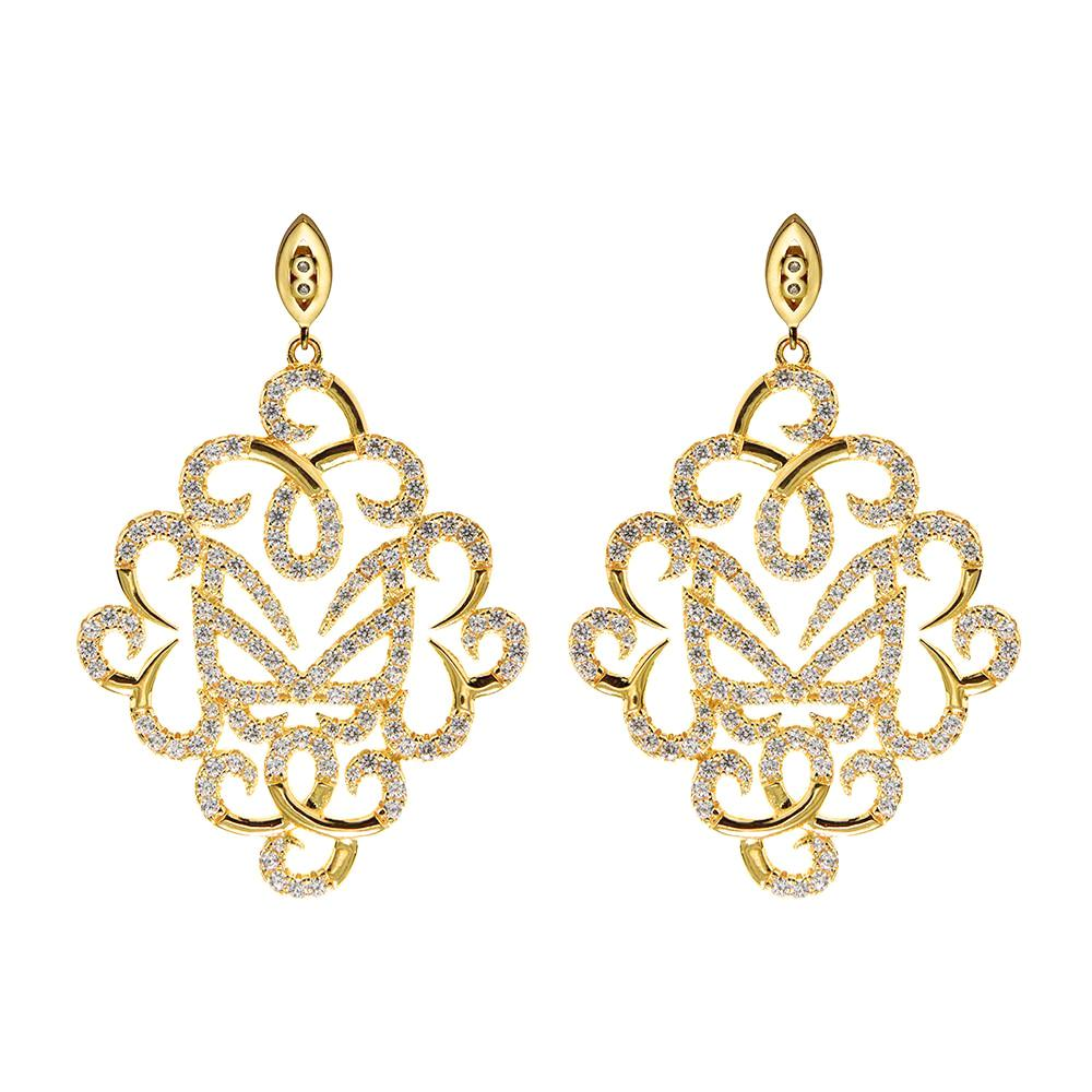 Hidden Mask Fancy Yellow Gold Earrings - Vamp London