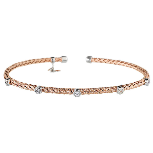 Entwined Dainty 5 CZ Rose Gold Bracelet - Vamp London