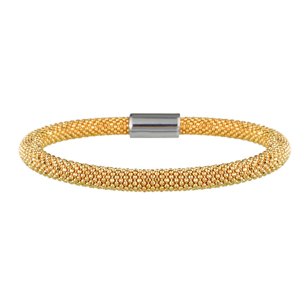 Yellow Gold Bold Mesh Bracelet | Vamp London Jewellery