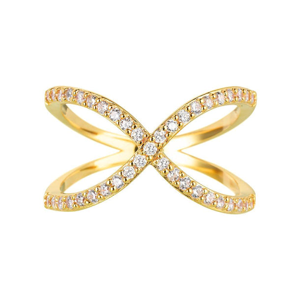 Yellow Gold Crossover Ring | Vamp London Jewellery
